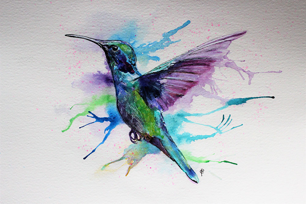 Watercolour humming bird in a colourful artistic style
