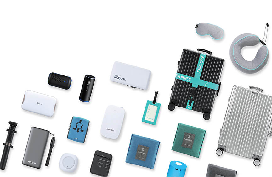 travel product collections including luggage, duffel bag, pillow, eyemask, mifi, adapter, powerbank and other accessories.