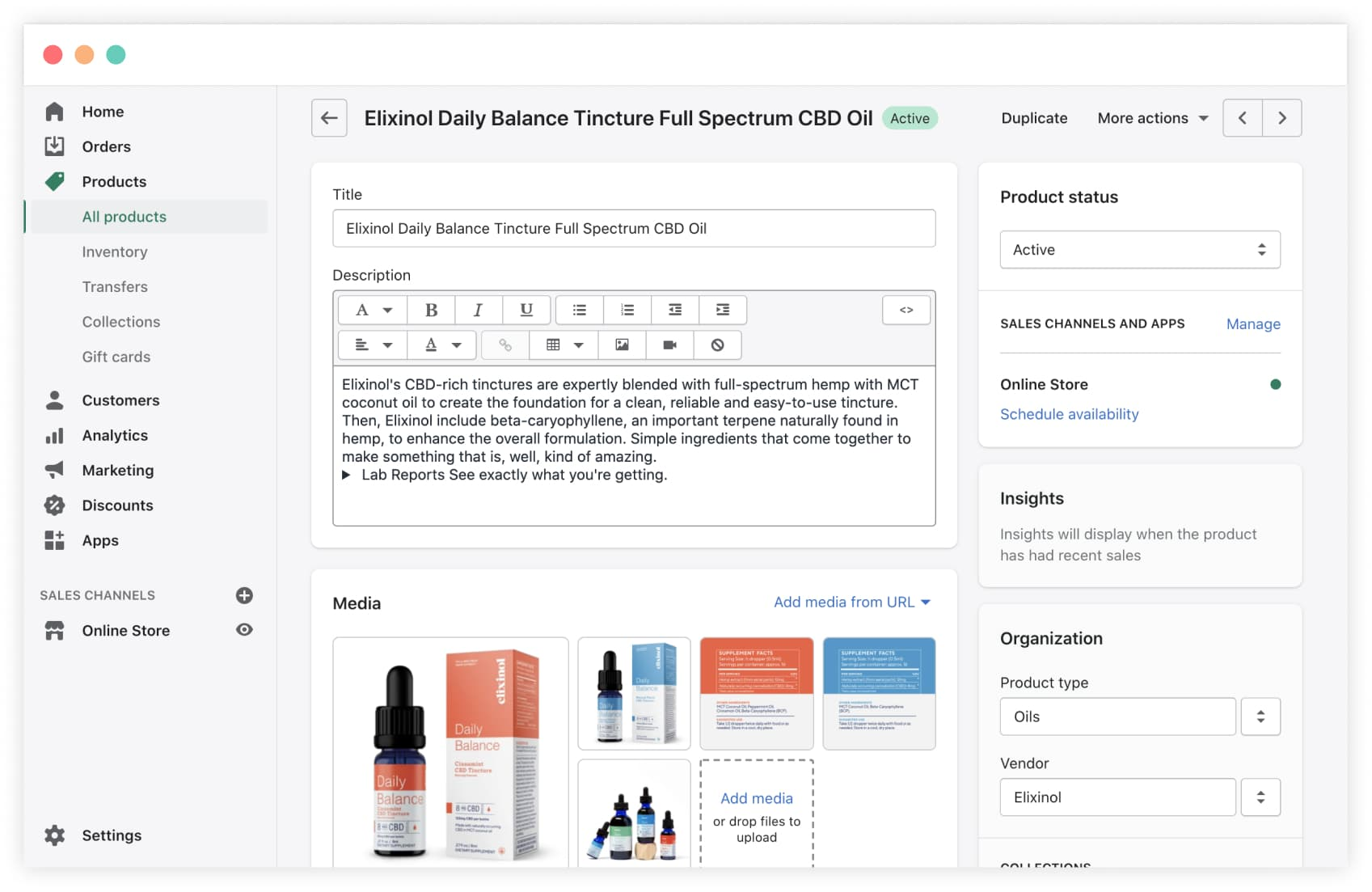The Shopify product page admin screen doesn't let you add new fields