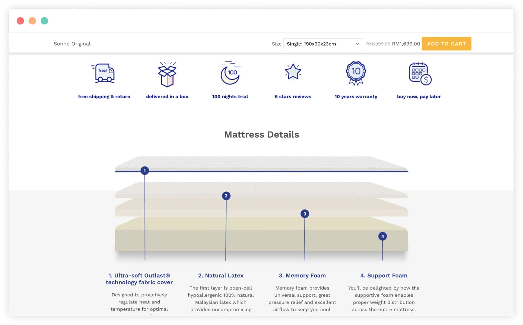Amore complex product page layout that showcases product features
