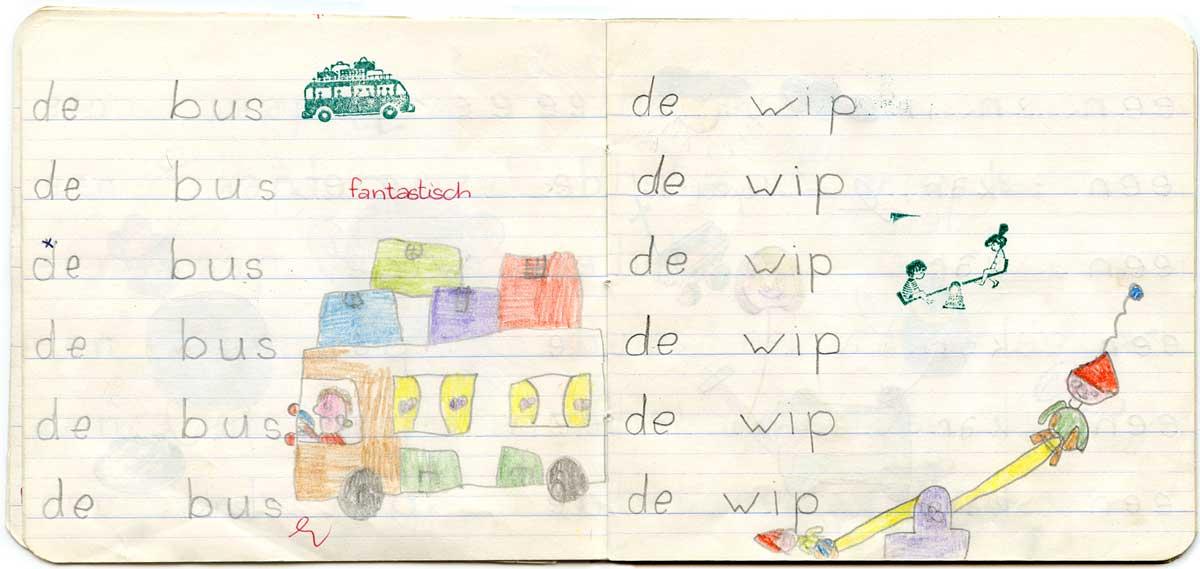 In een schrijfboekje uit de 1e klas lagere school staan tekeningen van Marjorie die er al super uitzien!