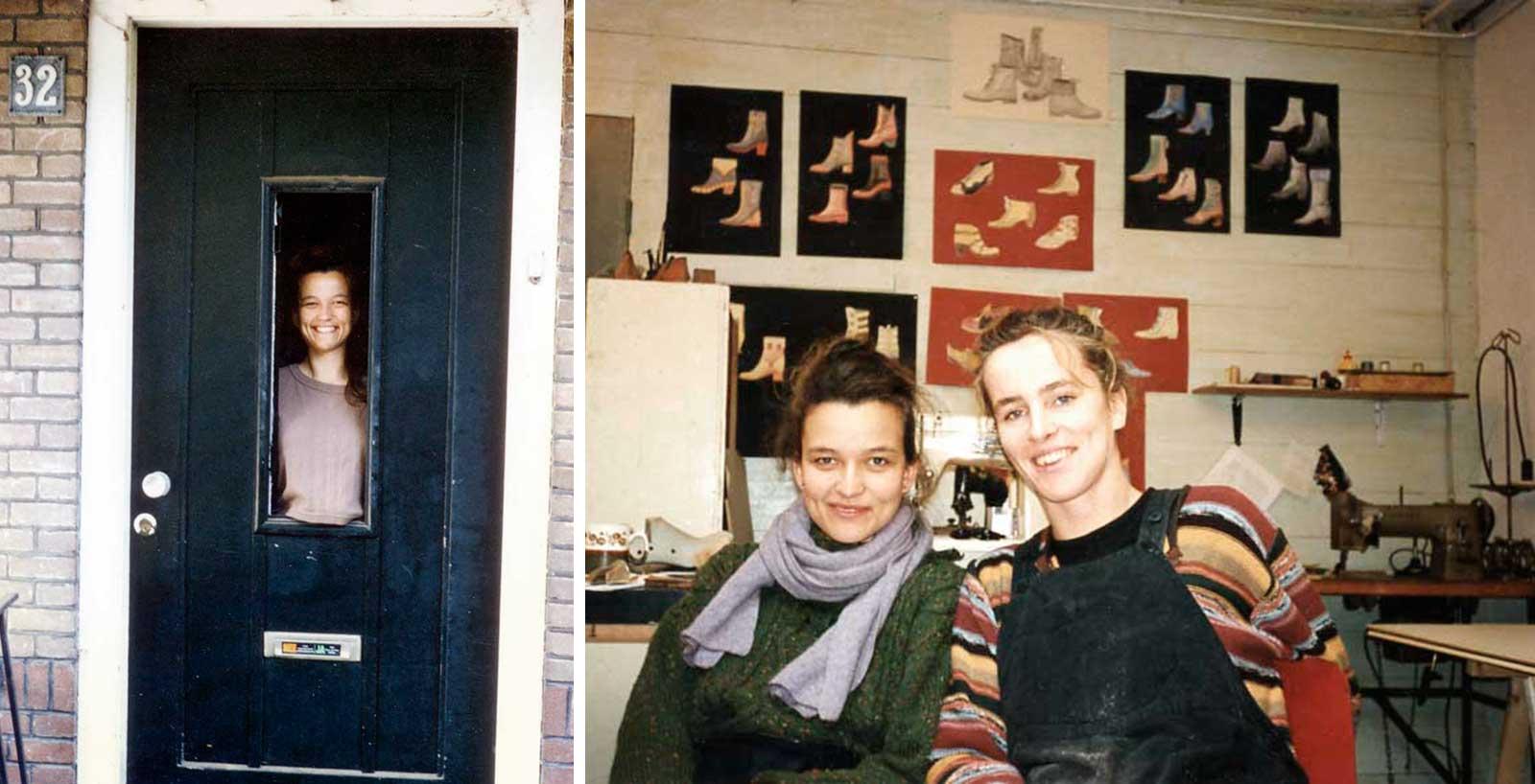 Studententijd, rechts in het schoenenatelier ban Anne Biemans