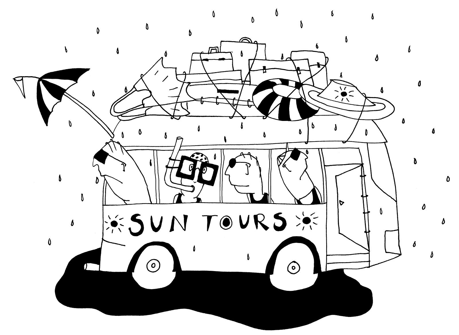 Lijntekening Suntours (mensen met strandspullen en zonnebrillen zitten in de tourbus van 'Suntours' terwijl het regent. Misleidend adverteren