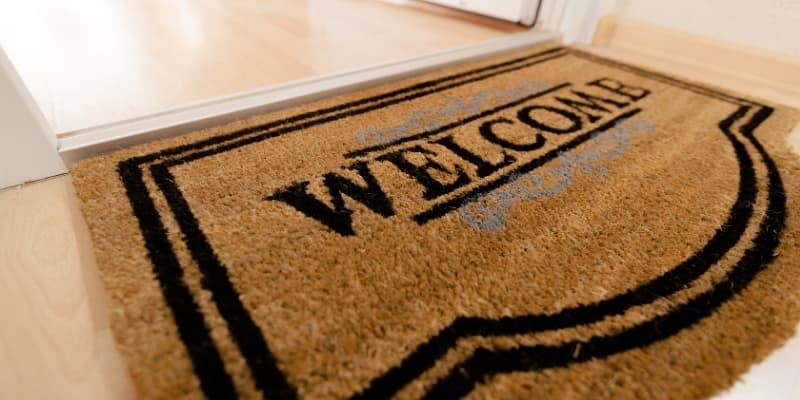 Front door mat for new house