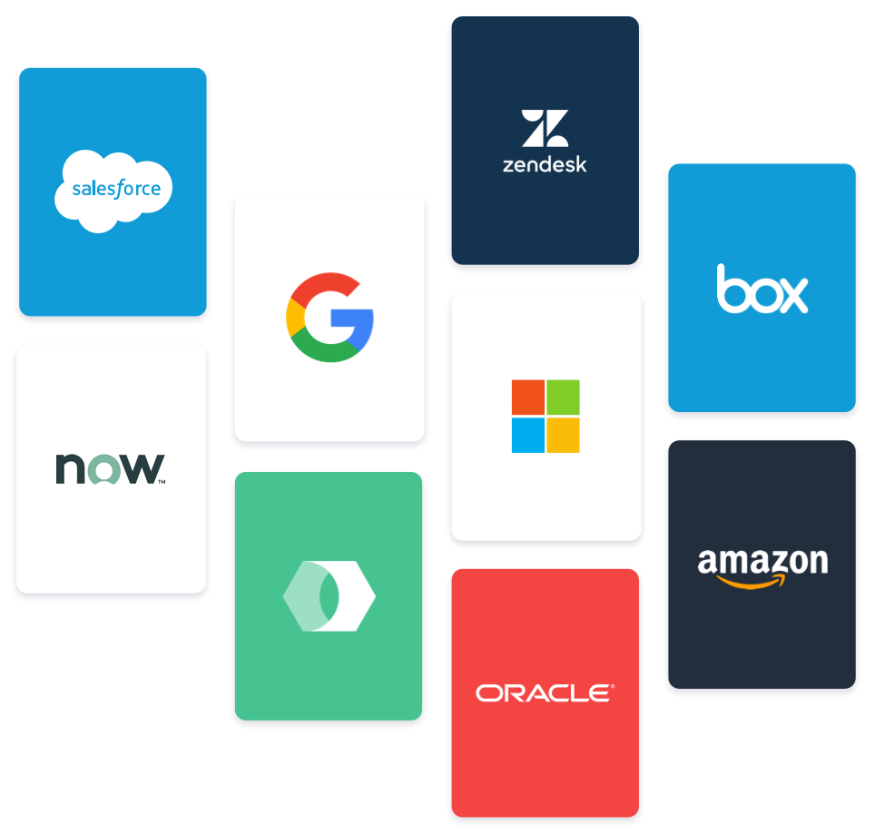 app integration capabilities with google, sale force, zen desk, box, now, oracle, amazing, microsoft and many more!