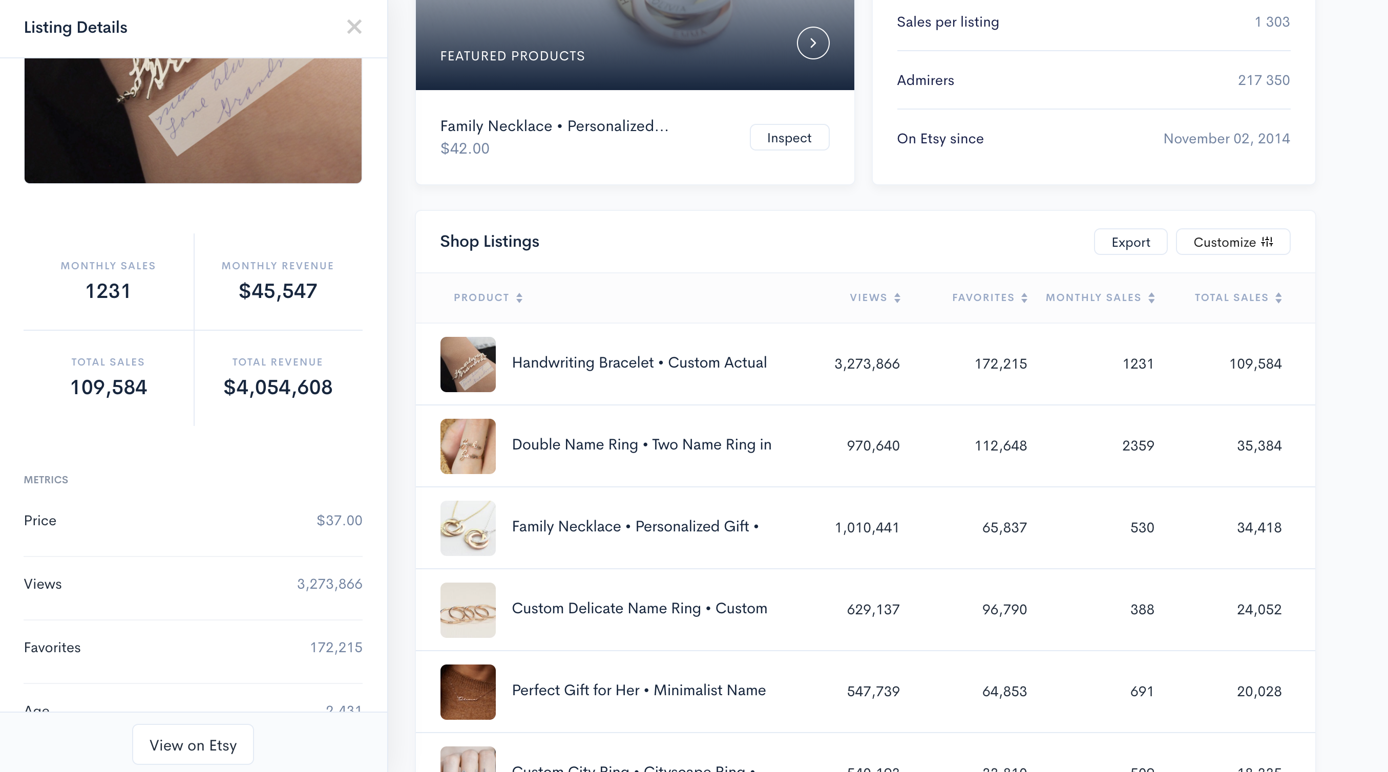 Alura Shop Analyzer - Shop Listings