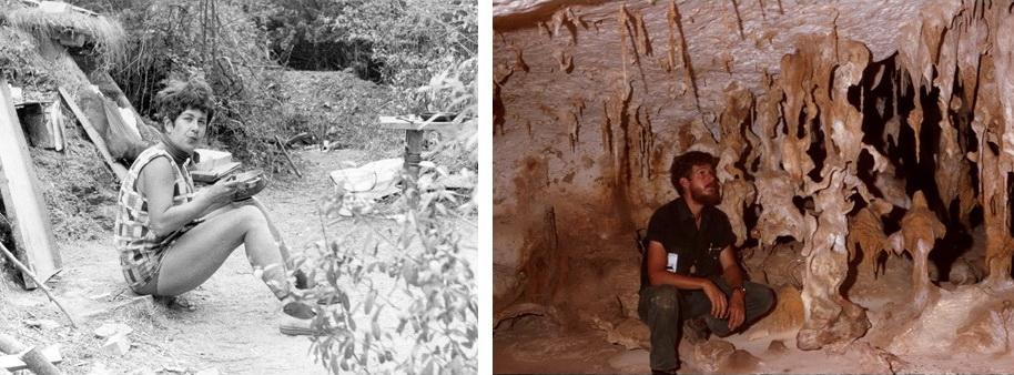 Jarmila Peck, jeune professeur, sur le site fossilifère d'Obara en Moravie, Tchécoslovaquie. Stewart Peck à la recherche d'insectes cavernicoles en 1974 sur l'île inhabitée de Mona, à l'ouest de Porto Rico. Il est un expert mondial des arthropodes cavernicoles.