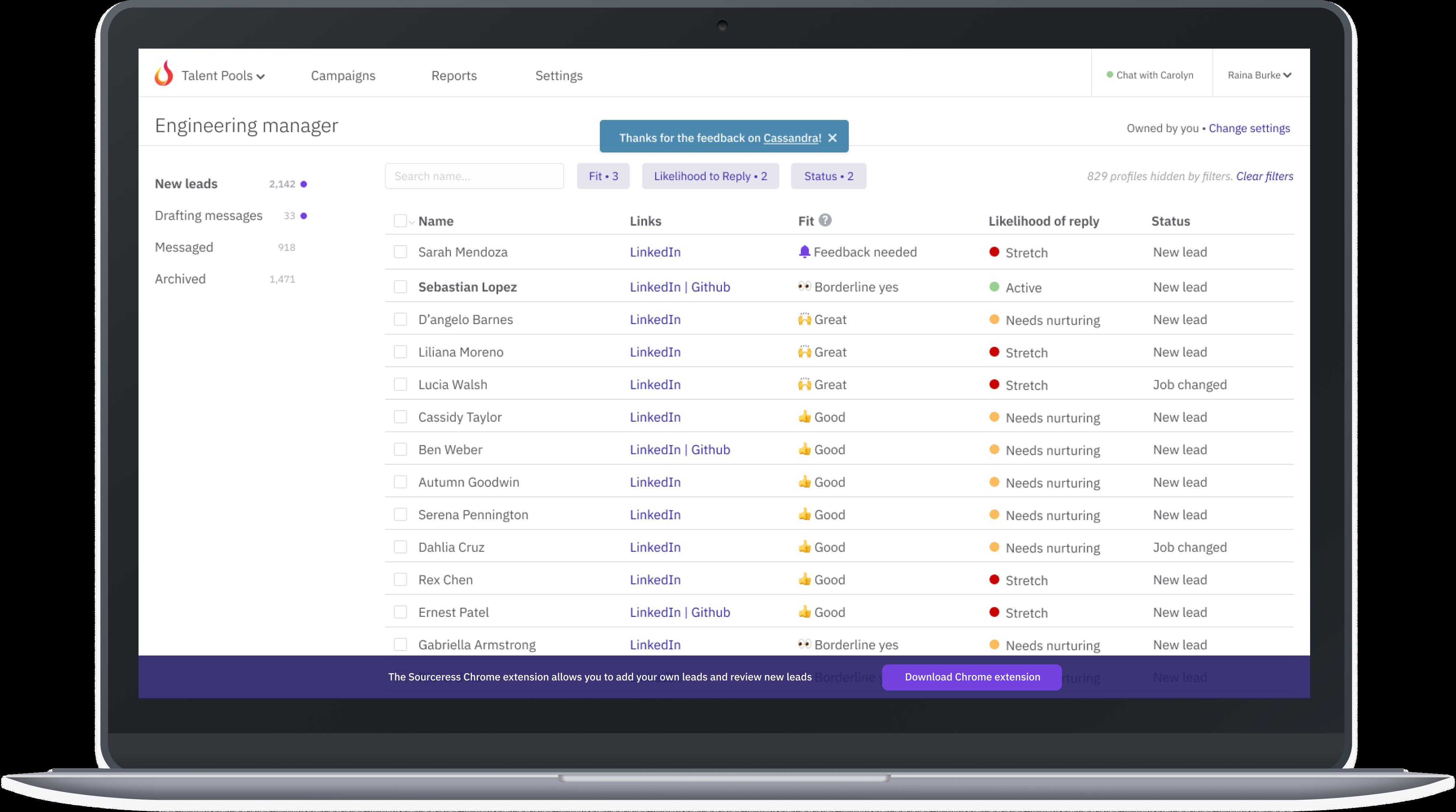 Laptop displaying Sourceress dashboard view