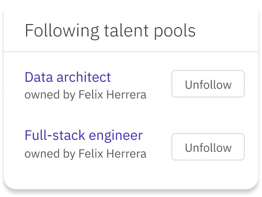 View of Data Architect and Full-stack engineer talent pools