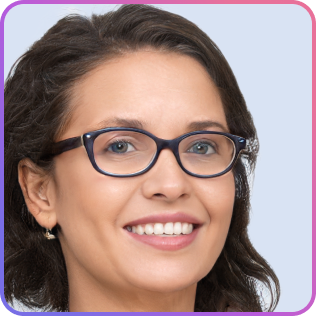 Dark-haired woman wearing glasses