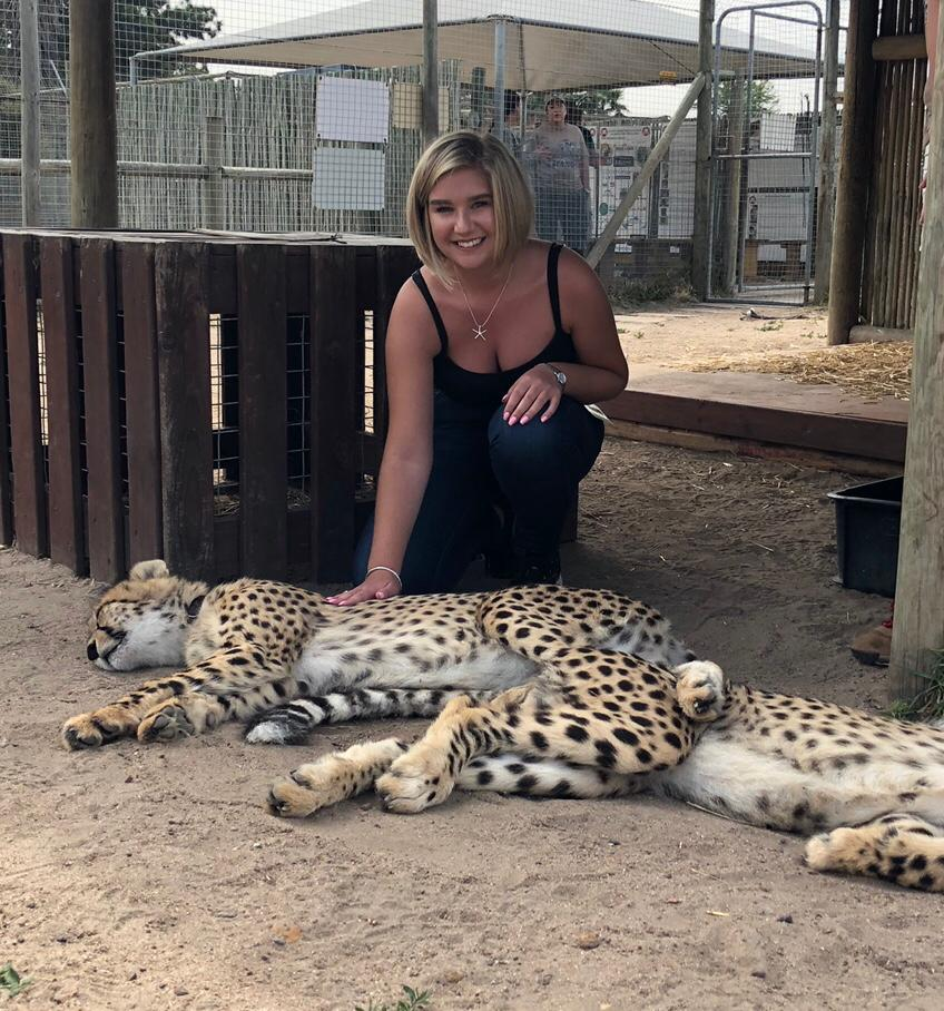 Harriet-Mallaby-at-a-cheetah-sanctuary-with-Bridging-Gaps