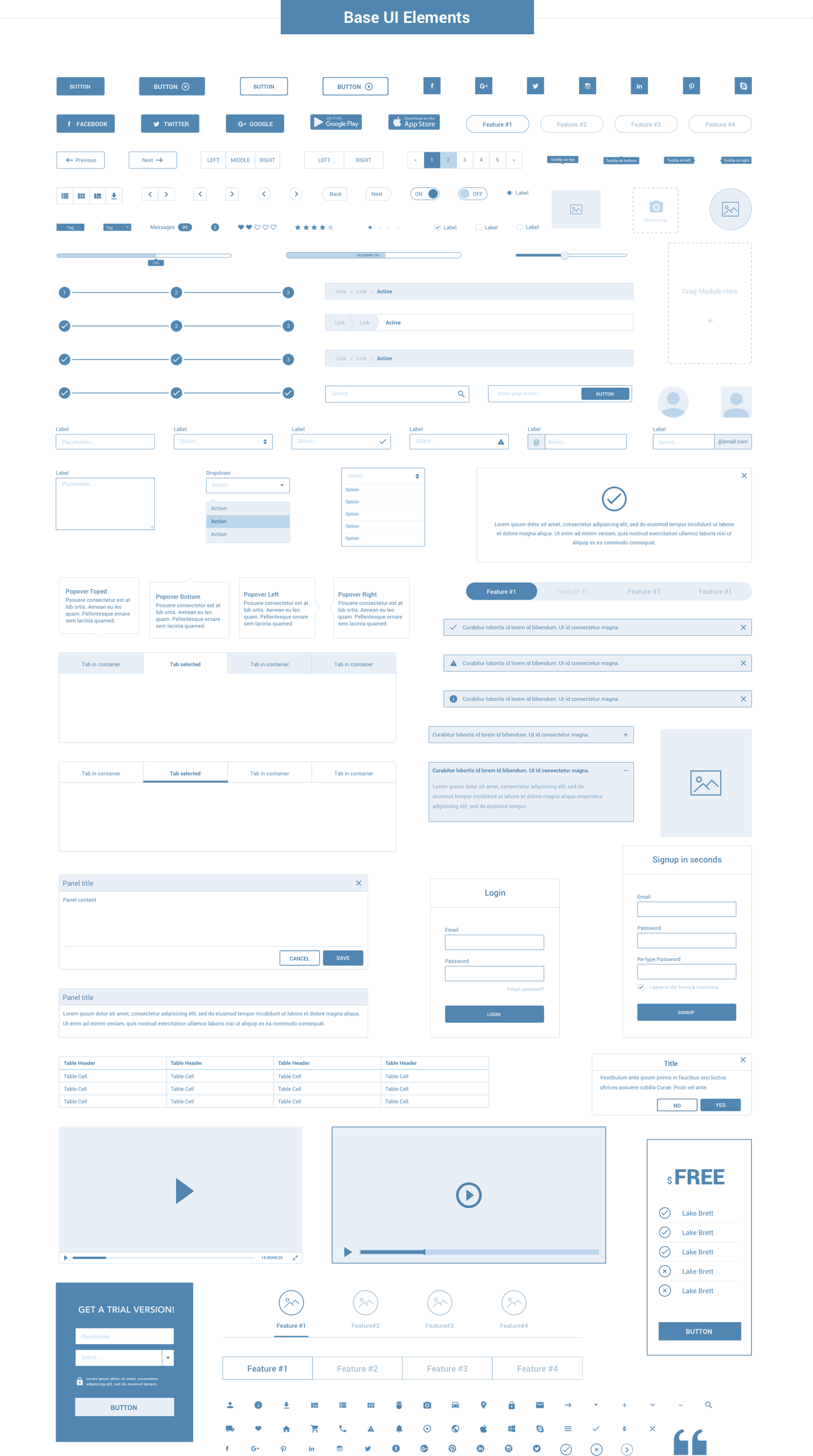 Wireframe for web - UI Kit