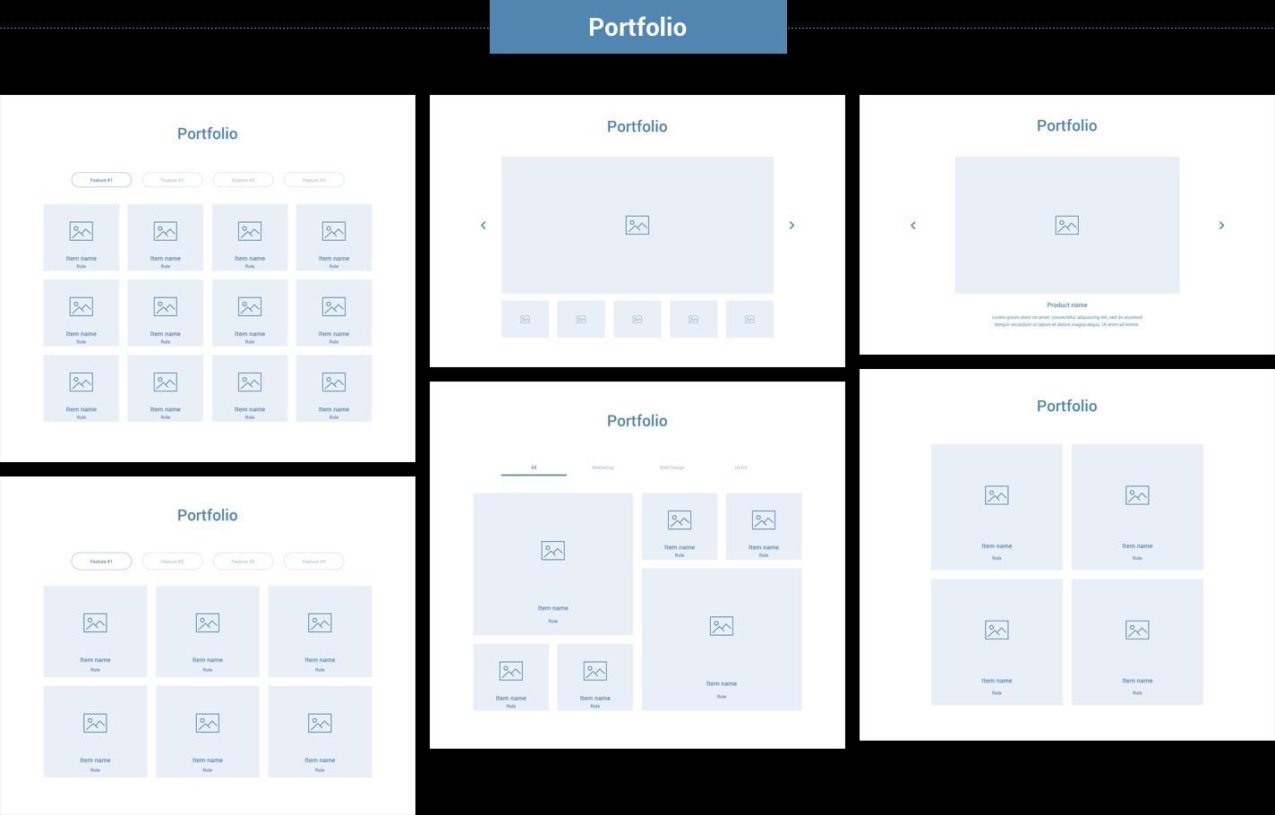 Wireframe for web - Portfolio