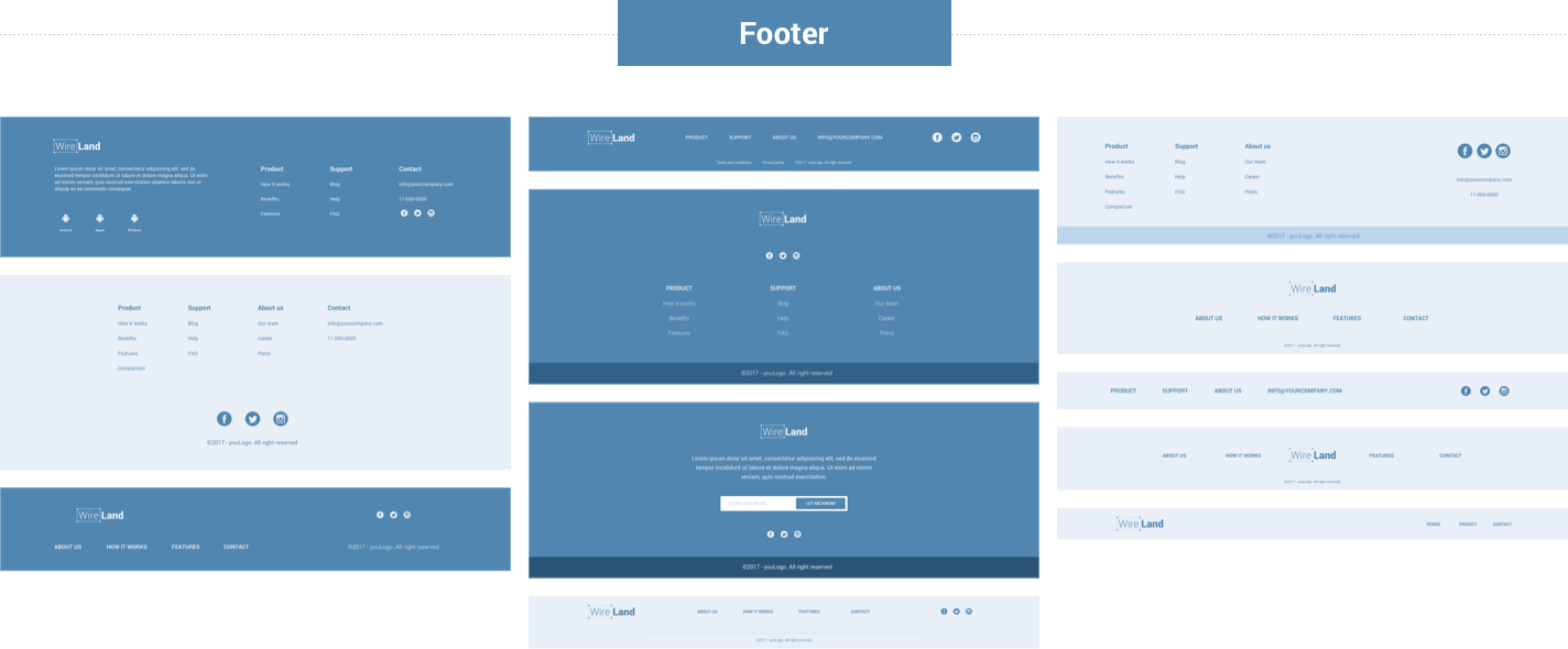 Wireframe for web - Footer