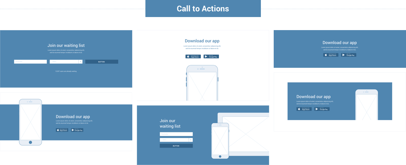 Wireframe for web - Call to Action