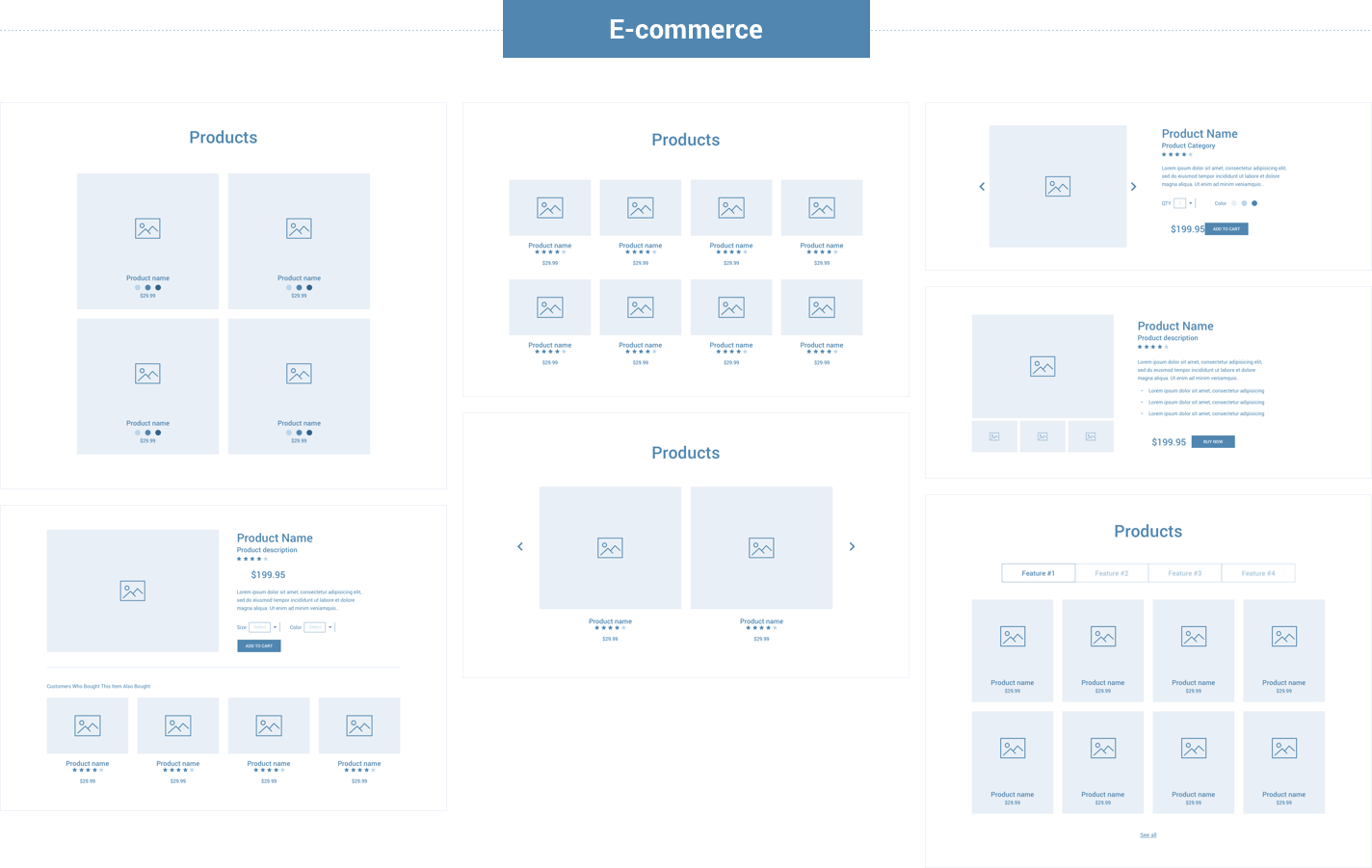 Wireframe for web - Ecommerce