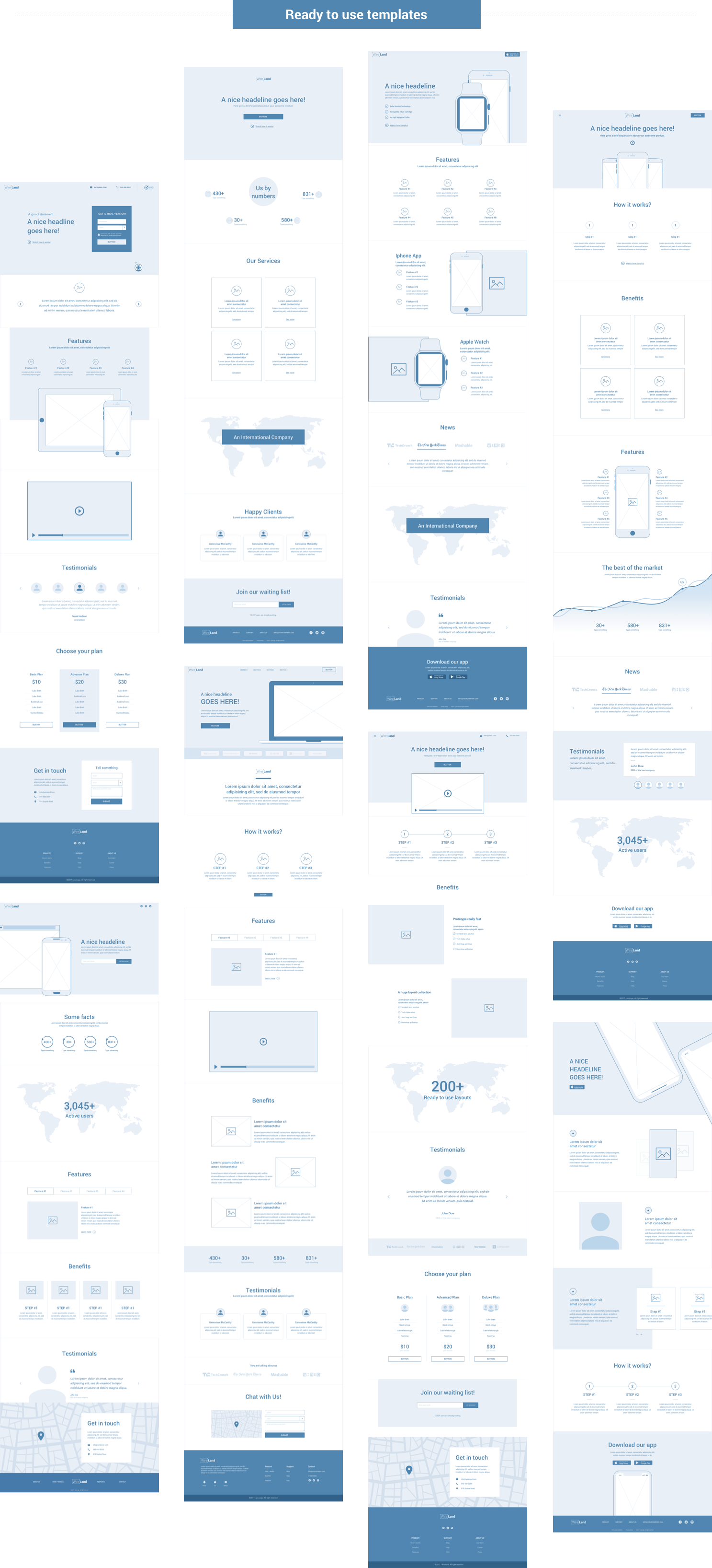 Wireframe for web - Pages