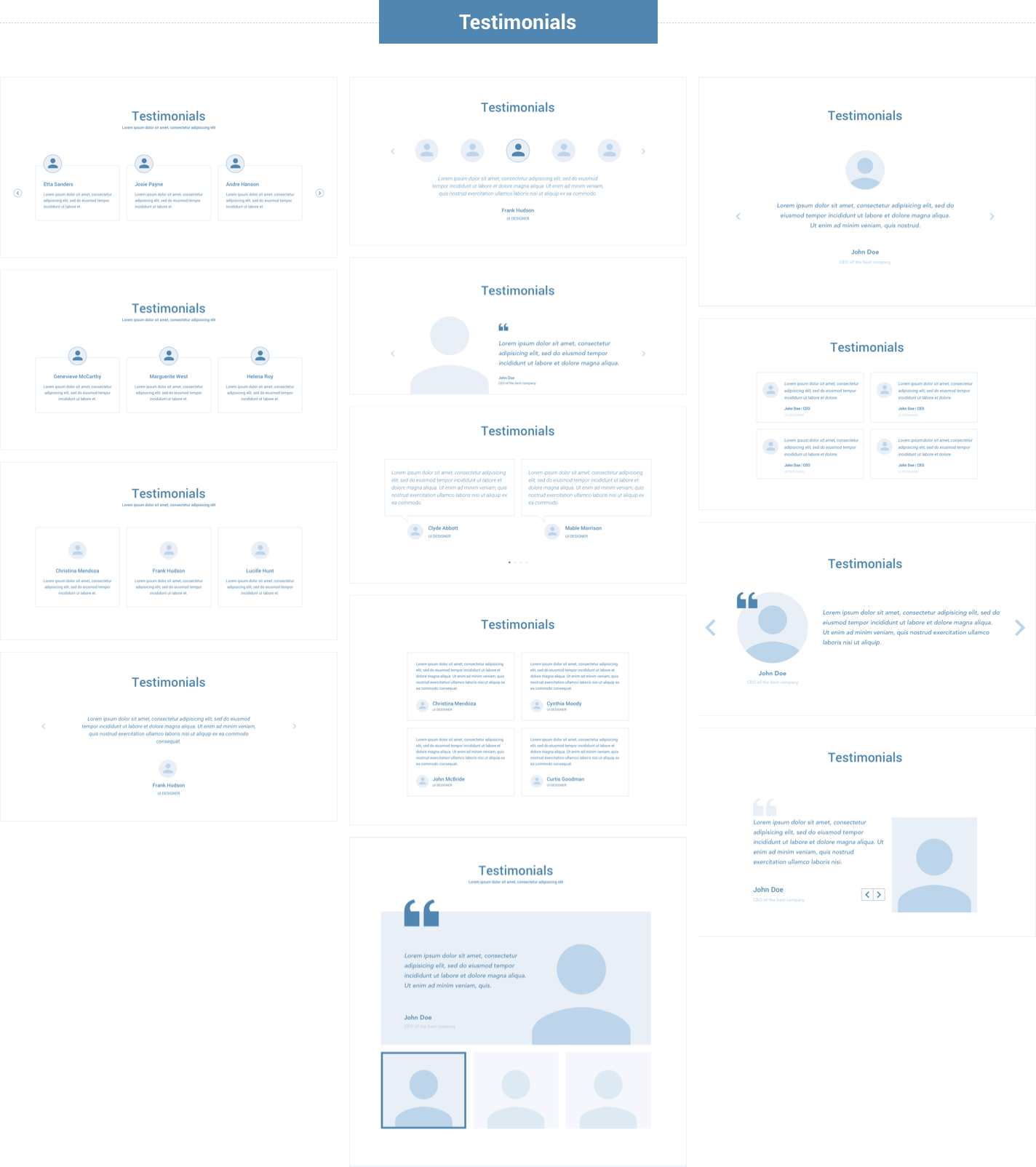 Wireframe for web - Testimonials