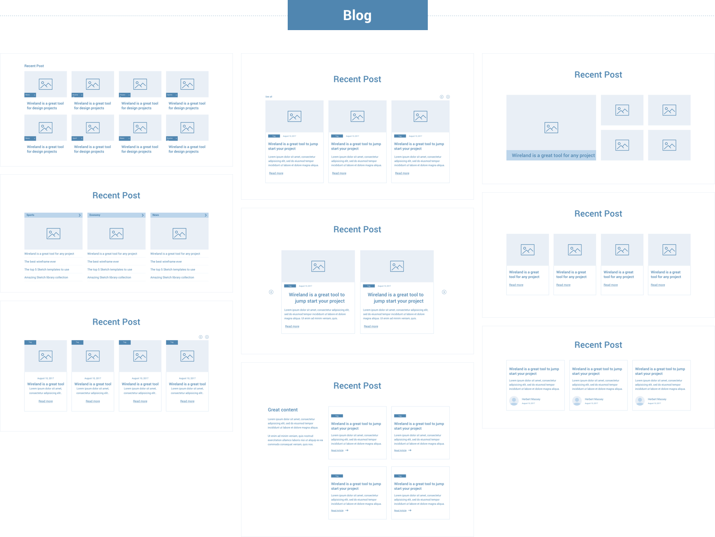 Wireframe for web - Blog