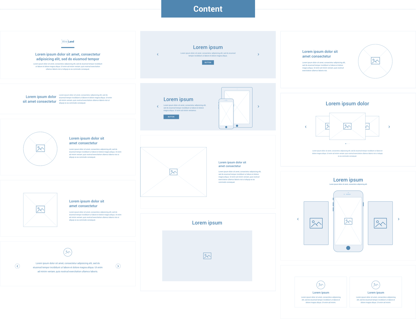 Wireframe for web - Content