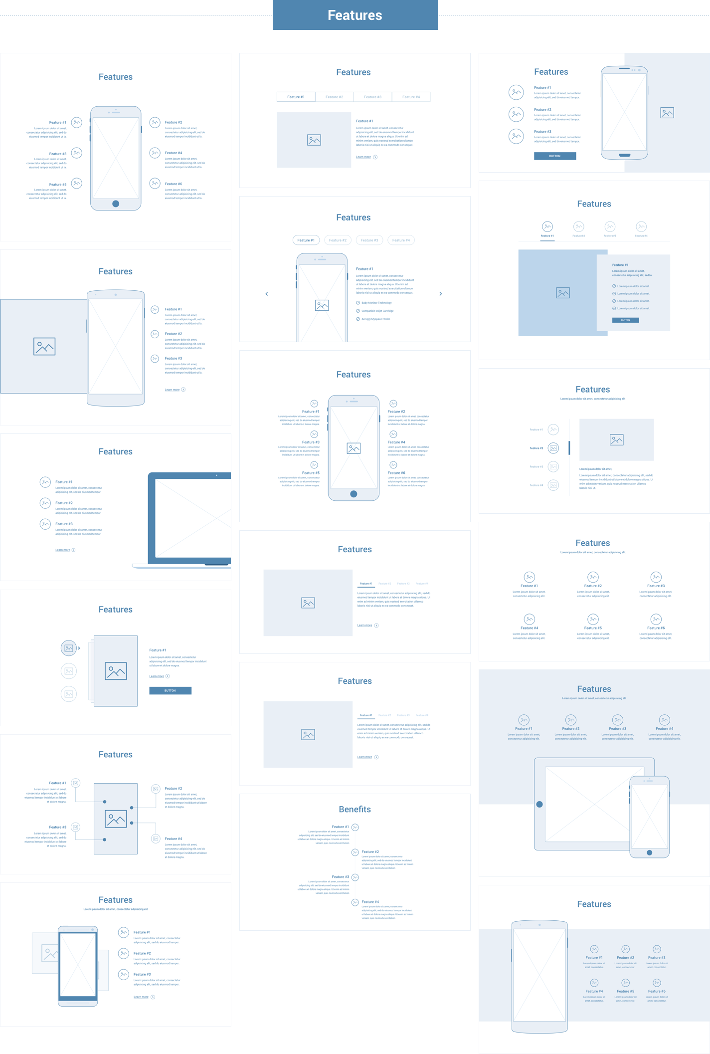 Wireframe for web - Features