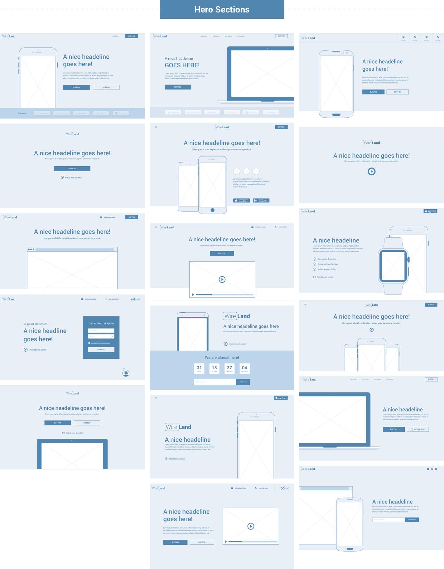 Wireframe for web - Hero Section