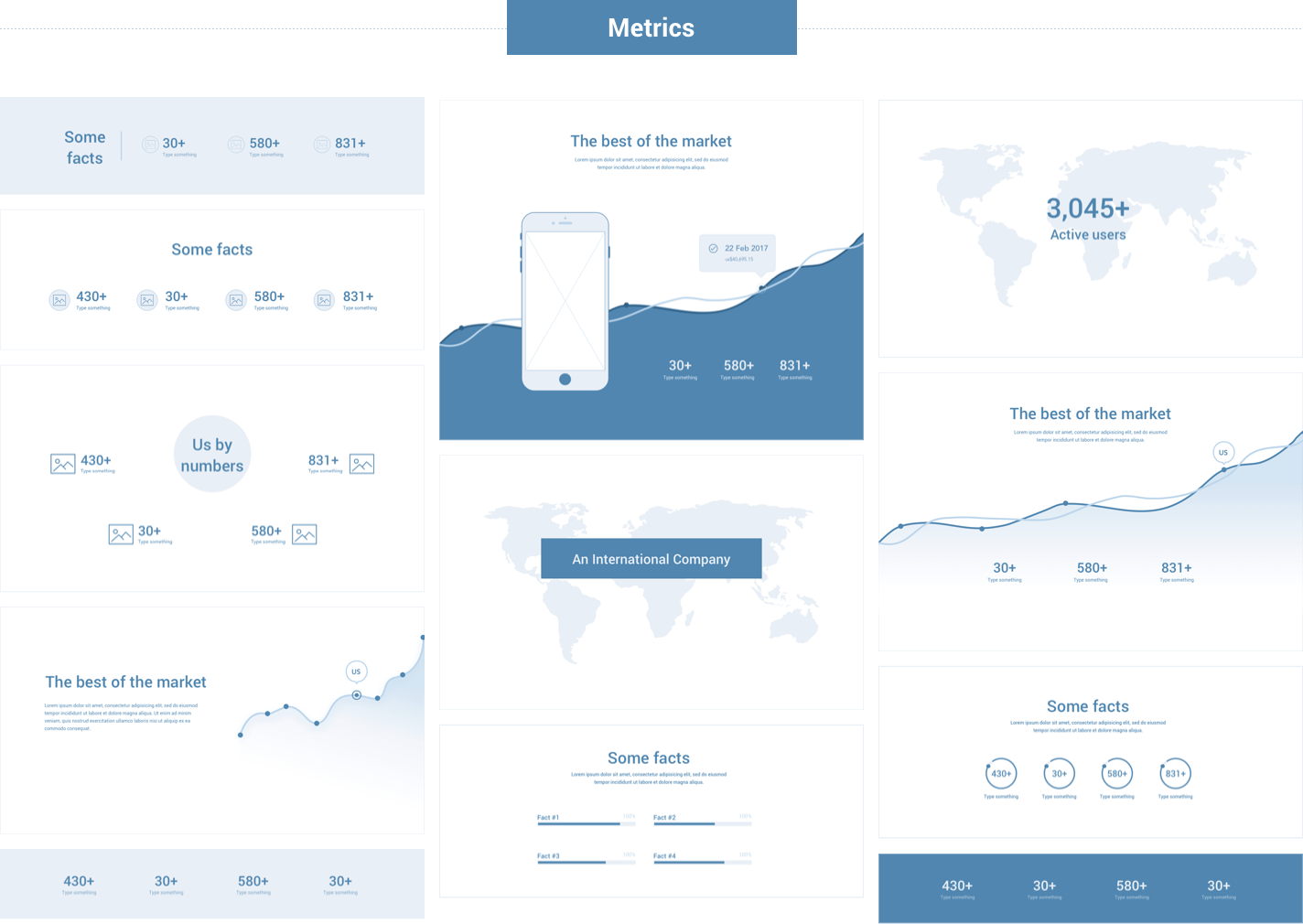 Wireframe for web - Metrics