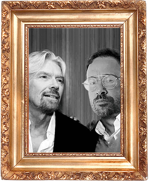 Framed image of Quiz Meisters CEO Steffan van Lint with Richard Branson