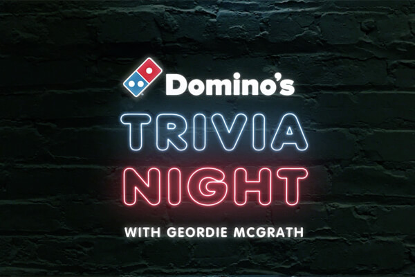 Promotional photo for Domino's Trivia Night with text on brick wall