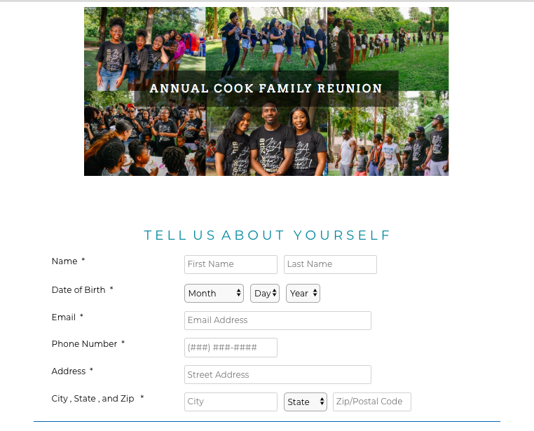 Example family reunion registration page
