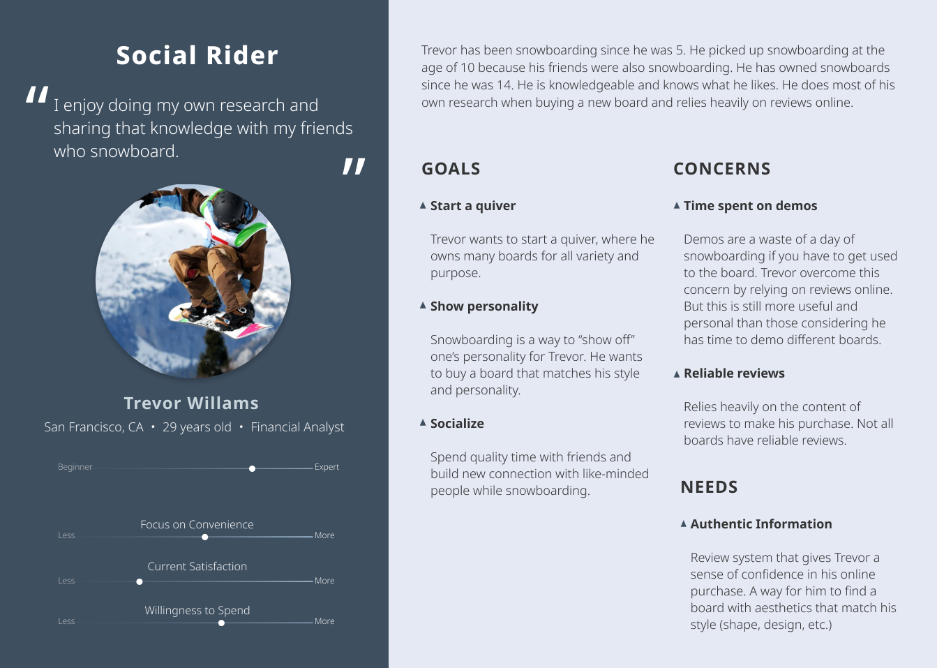 Gilson Snow persona describing the Social Rider persona