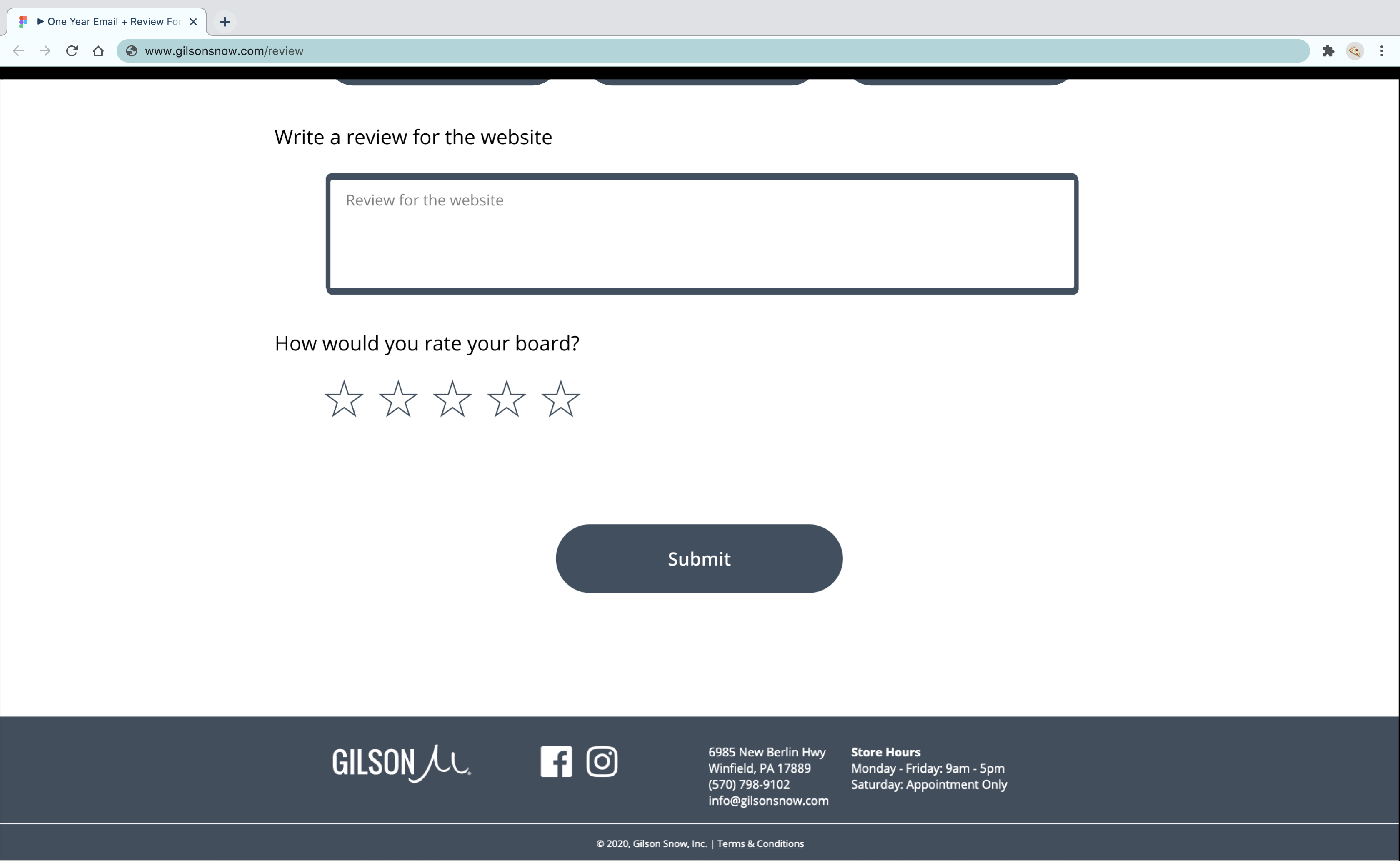 Bottom of review page prototype displaying submit button