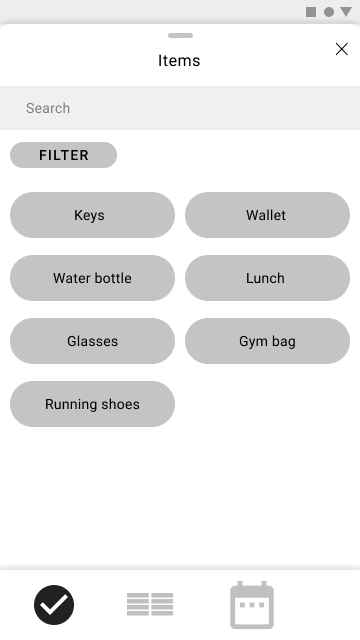 Grayscale phone screen design of item list by category