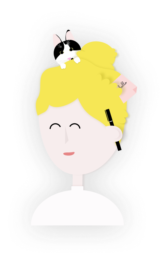 Illustration of a girl with her hair up and a cat peaking out from behind