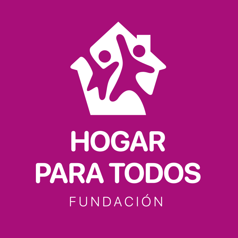 Casa Hogar Para Todos logo is purple with an animated house with children leaping