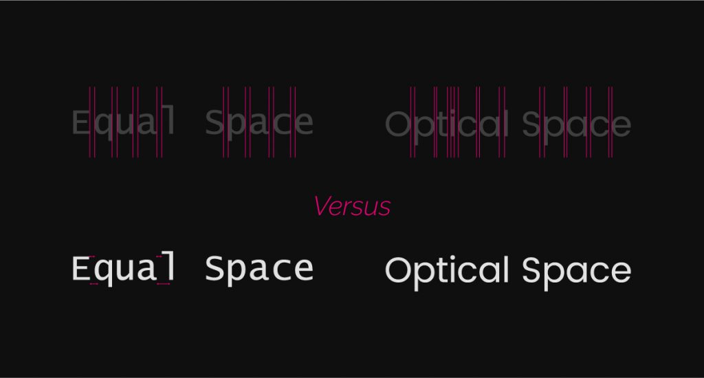 Graphic design text kerning saying equal space versus optical space