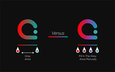 illustration of a basic round logo showing a red blue and grey gradient comparisation