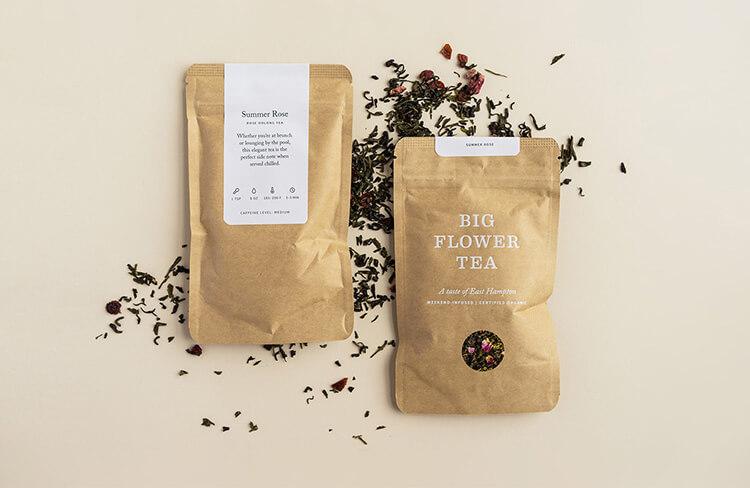cardboard packaging with organic flower tea inside