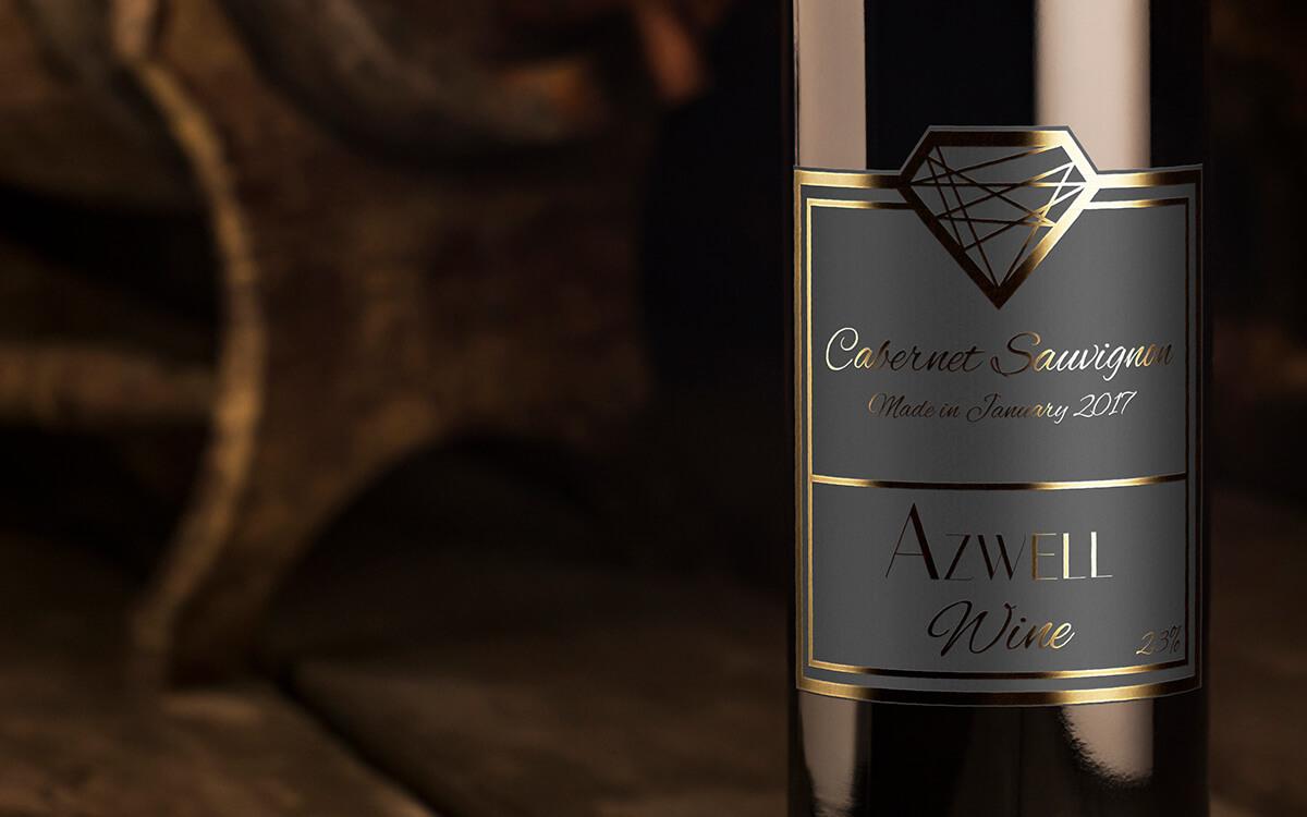 golden black label design for a wine bottle
