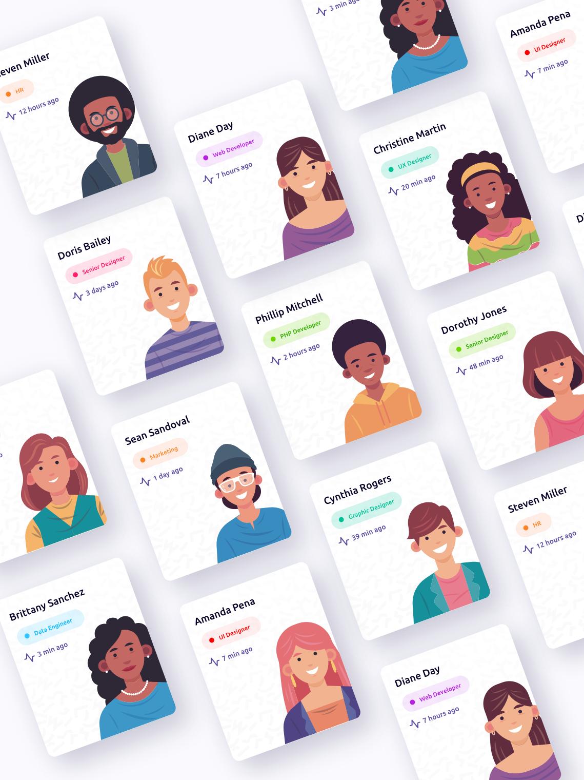 online courses mobile app cards design