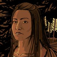 Young fierce Woodland Cree warrior woman