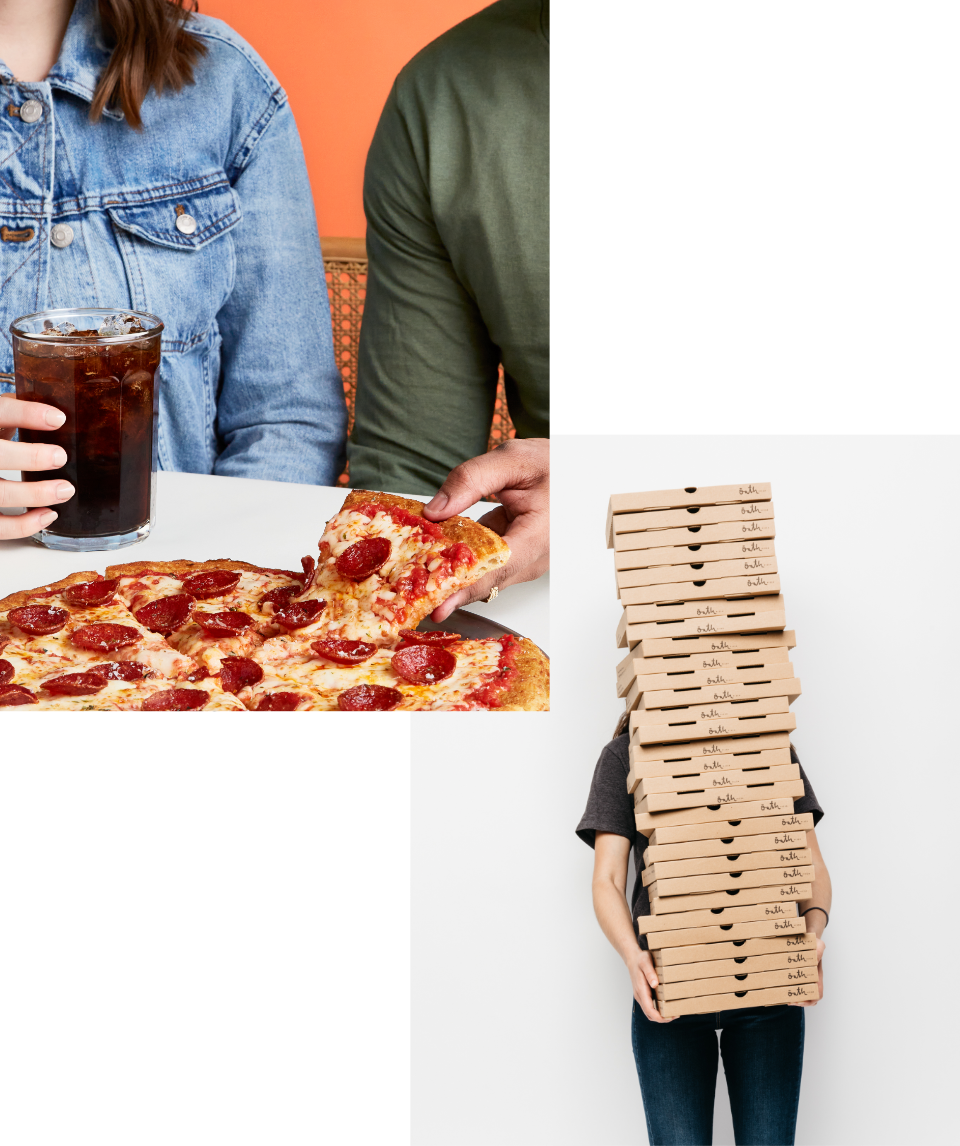 A couple enjoying delicious Oath Pizza and a large Pepsi drink A woman holding a huge stack of Oath Pizza pizza boxes