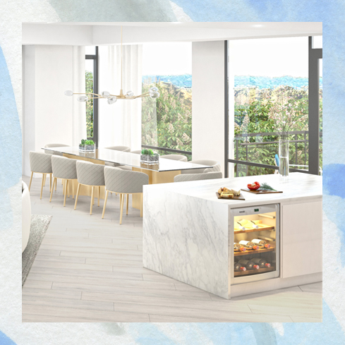 Muse Condominium water views floor to ceiling windows and kitchen island waterfall edge