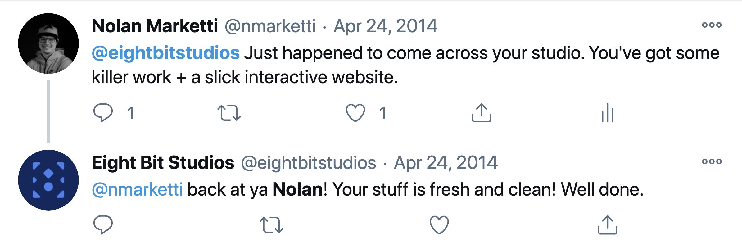 Tweet I sent to Eight Bit Studios in 2014