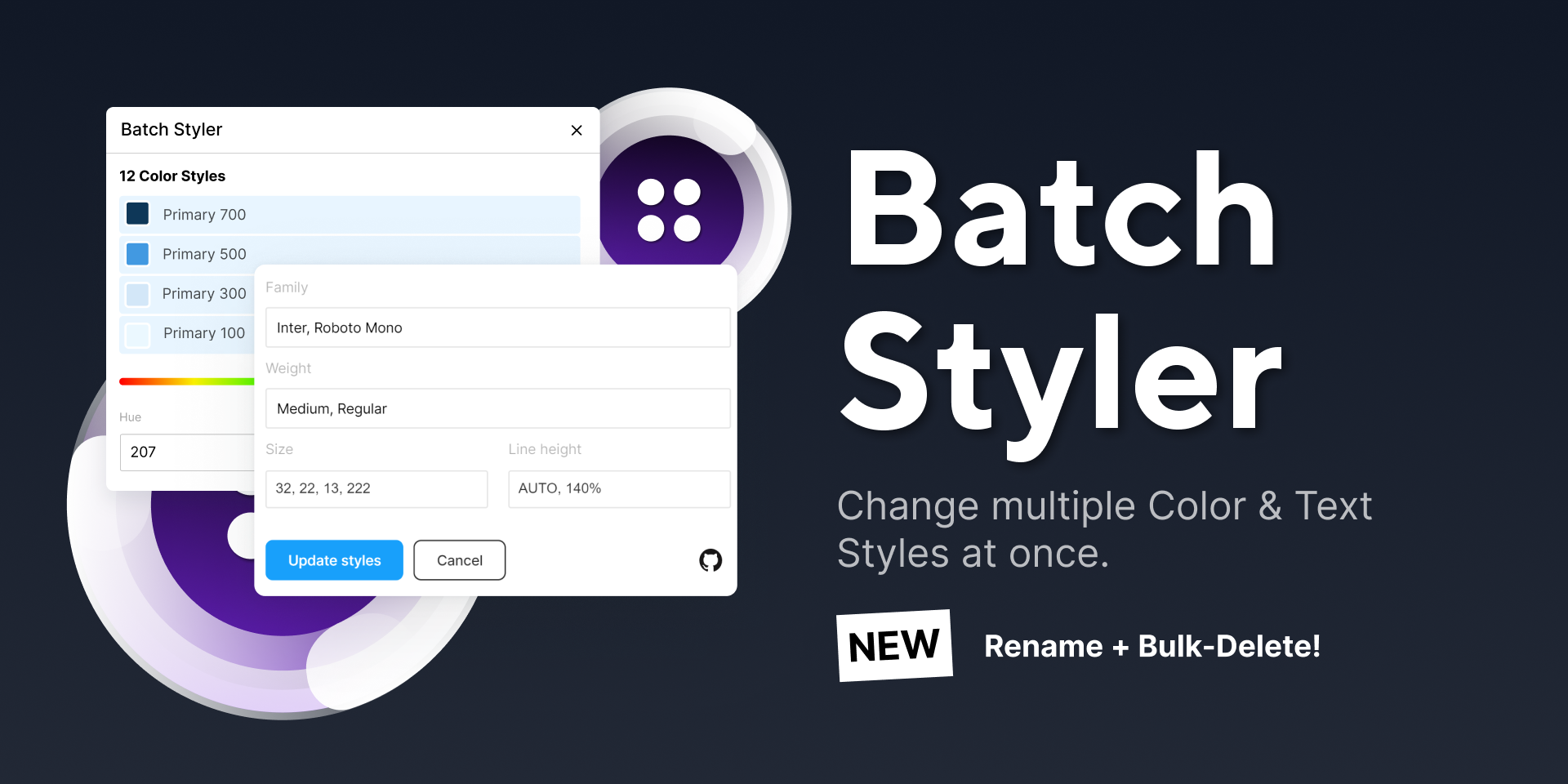 batch styler for styles and typography figma plugin