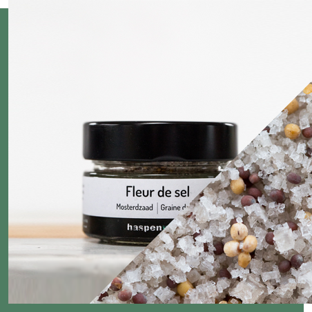 Smoked fleur de sel with mustard seeds 100g - Our yellow and brown mustard seeds are produced in Haspengouw by farmer Hugo Jacobs. Mustard seeds pair well with meat dishes.