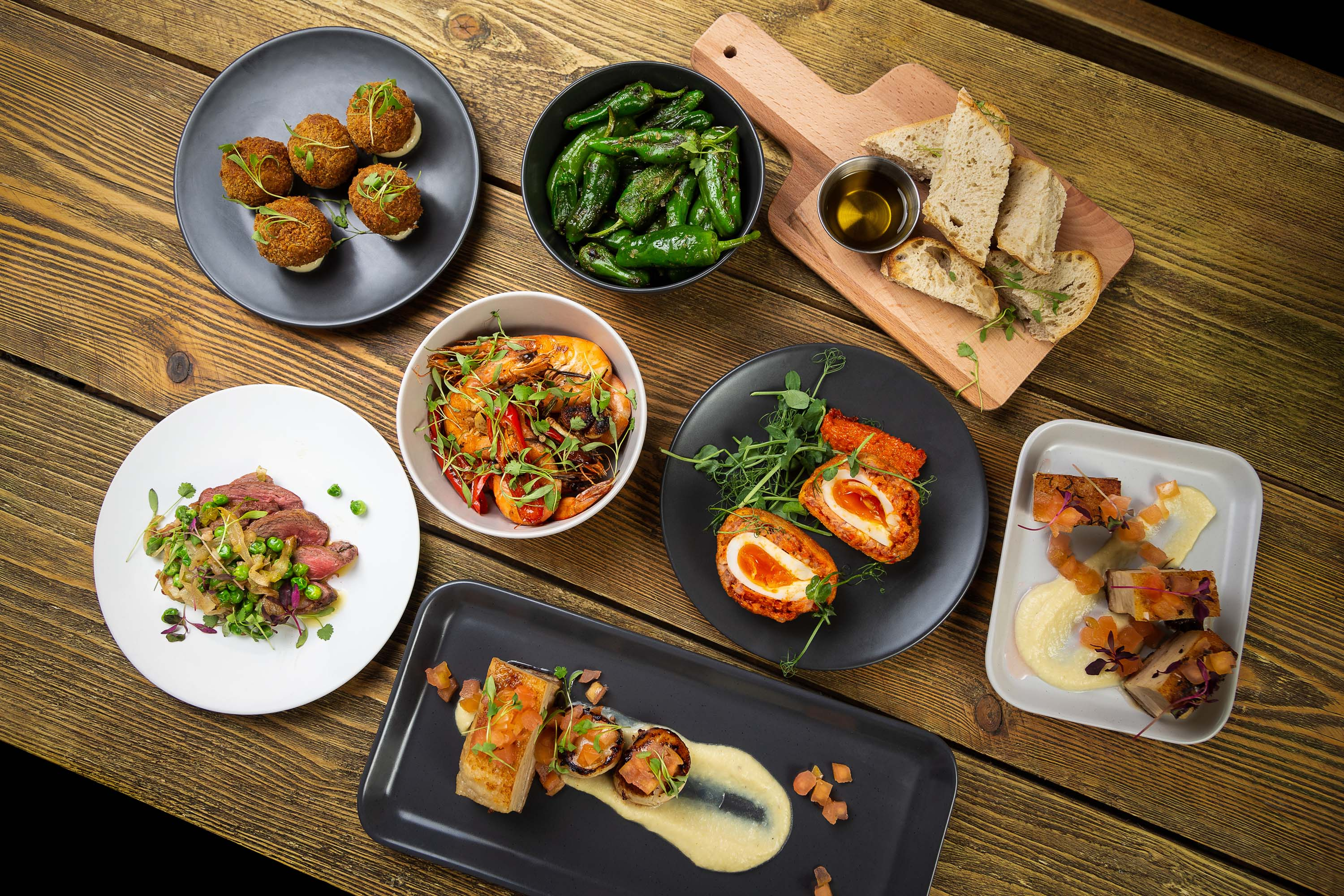 Table full of tapas dishes