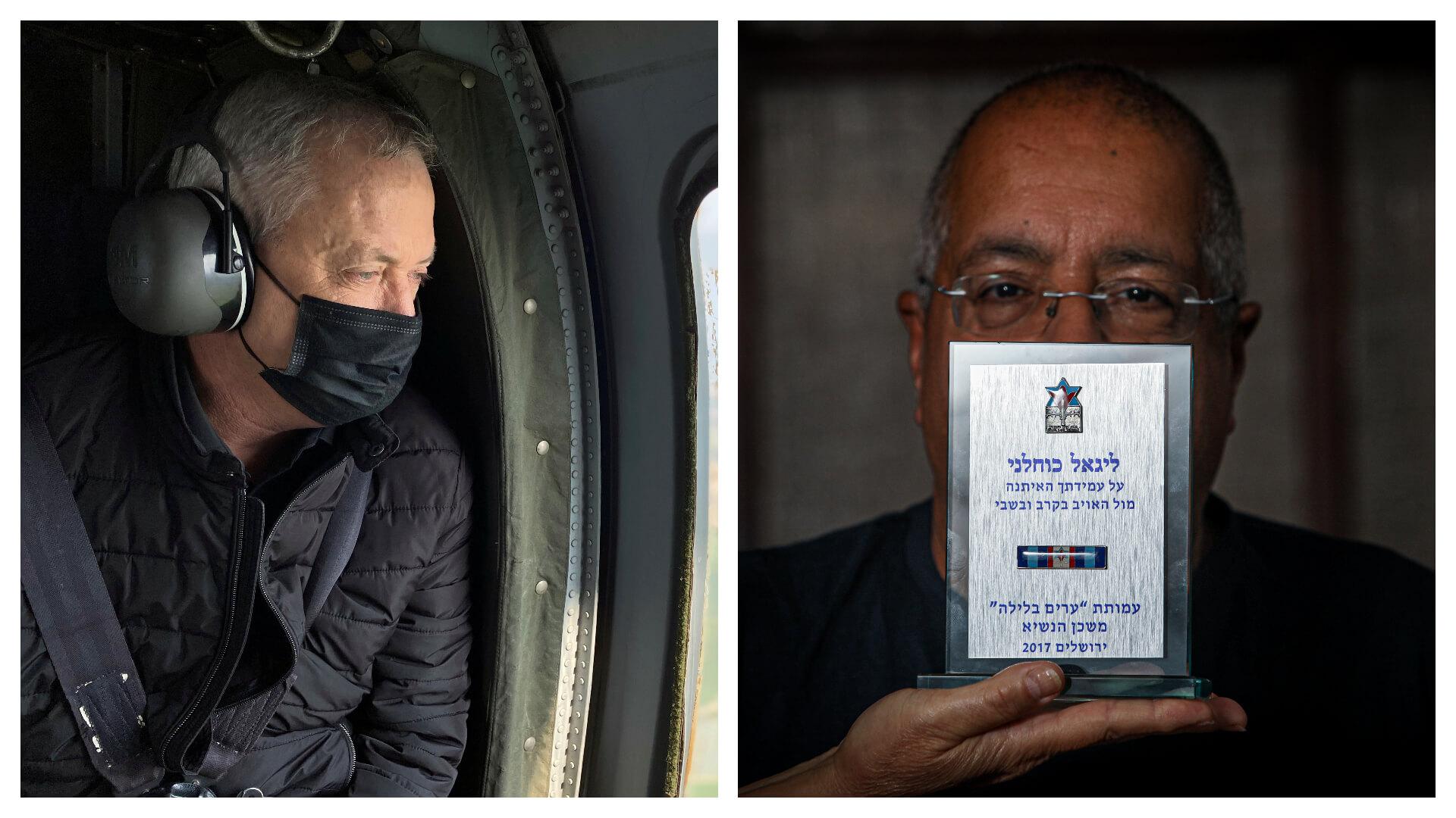 יו״ר עמותת ״ערים בלילה״ יגאל כוחלני (מימין) ושר הביטחון בני גנץ. צילומים: שלומי יוסף, רויטרס