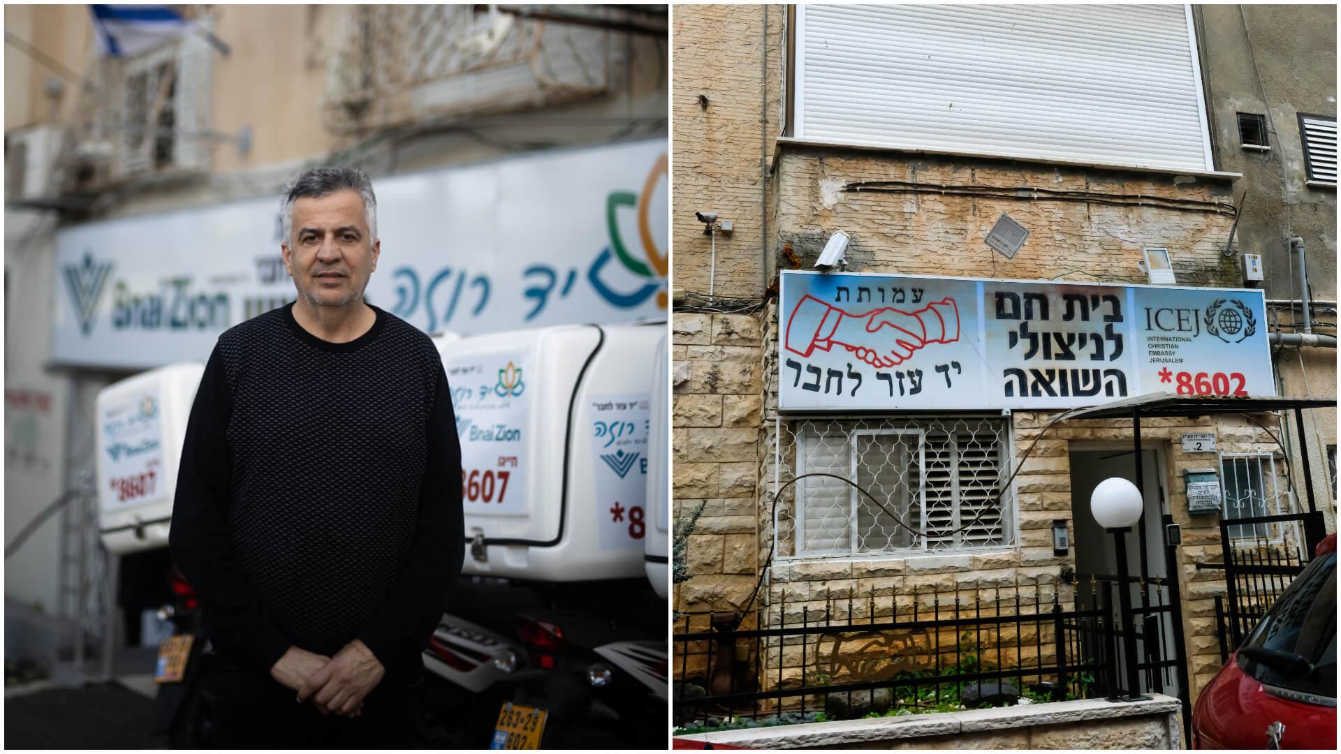שמעון סבג (צילום: קורינה קרן) ובית של יד עזר לחבר ברח' קסל בחיפה (צילום: שלומי יוסף)