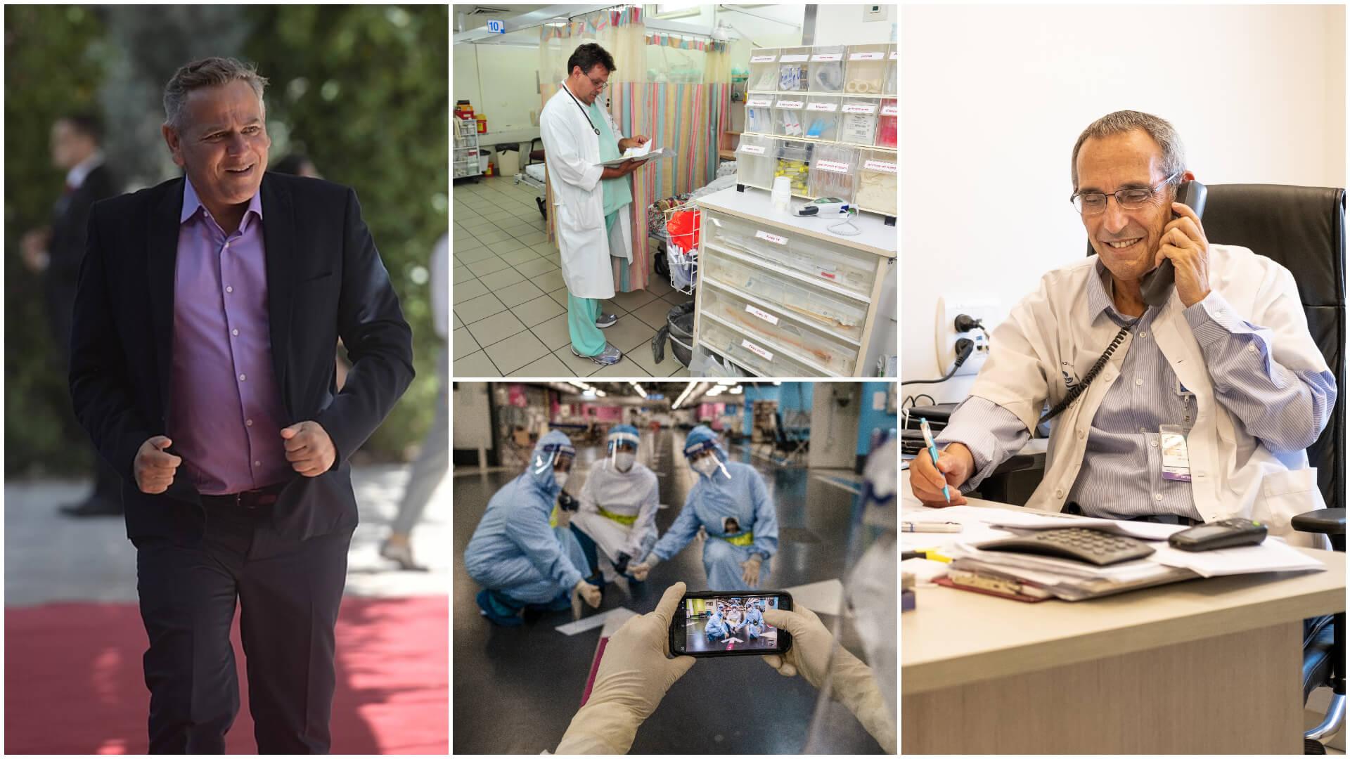 """שר הבריאות הטרי ניצן הורוביץ (משמאל ועם כיוון השעון), רופא בבית החולים ברזילי באשקלון, פרופ' אהוד גרוסמן בשיבא וצוות רפואי ברמב""""ם. צילומים: ביא בר קלוש, קובי גדעון - לע""""מ, שאטרסטוק"""